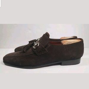 399e3d4367f Robert Zur Brown Suede Tasseled Loafers sz 10M